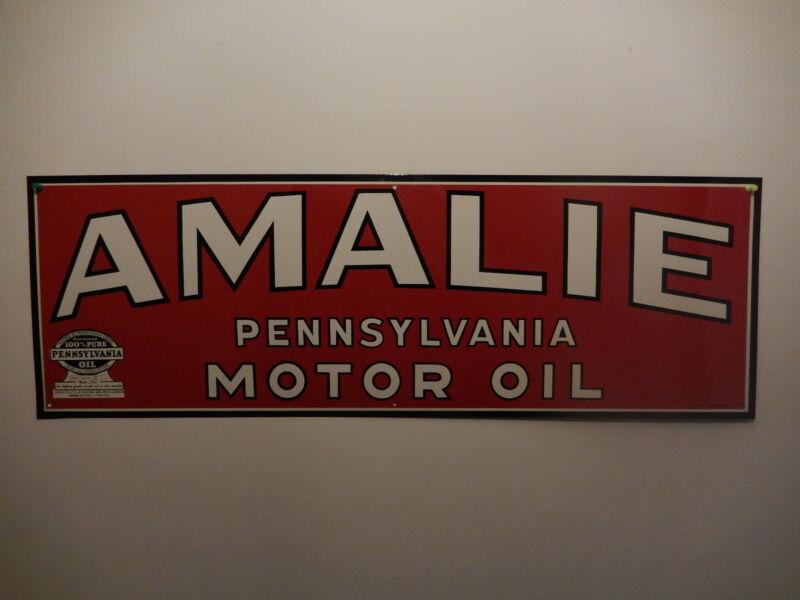 Vintage Amalie Motor Oil Sign. 100% genuine NOS.