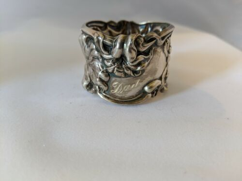 """Antique Art Nouveau Frank Whiting Lily Sterling Silver Napkin Ring """"Dad"""""""
