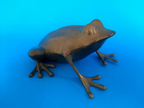 "VINTAGE BRASS FROG FIGURE Garden Decor 6.5"" Long"