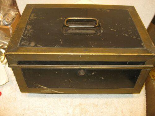Antique metal document-cash lock box
