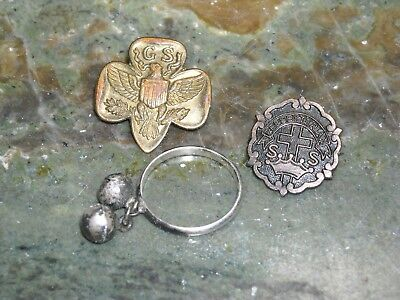 vintage little cross & crown system pin girl scouts hong kong silver ring balls