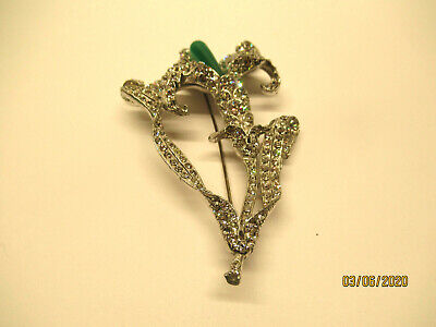 Vintage Art Deco Rhinestone Paste Lily Flower Large Pin Brooch Lily Flower Brooch