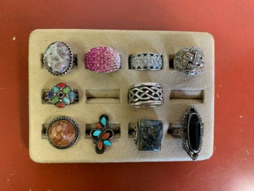 Set Of (10) Sterling Silver Rings Assorted Styles Sizes 7-9 Lot #27