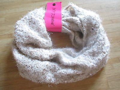 NEW Scarf BETSEY JOHNSON Infinity Knit Circle Tan Pink Cream Gem Detail