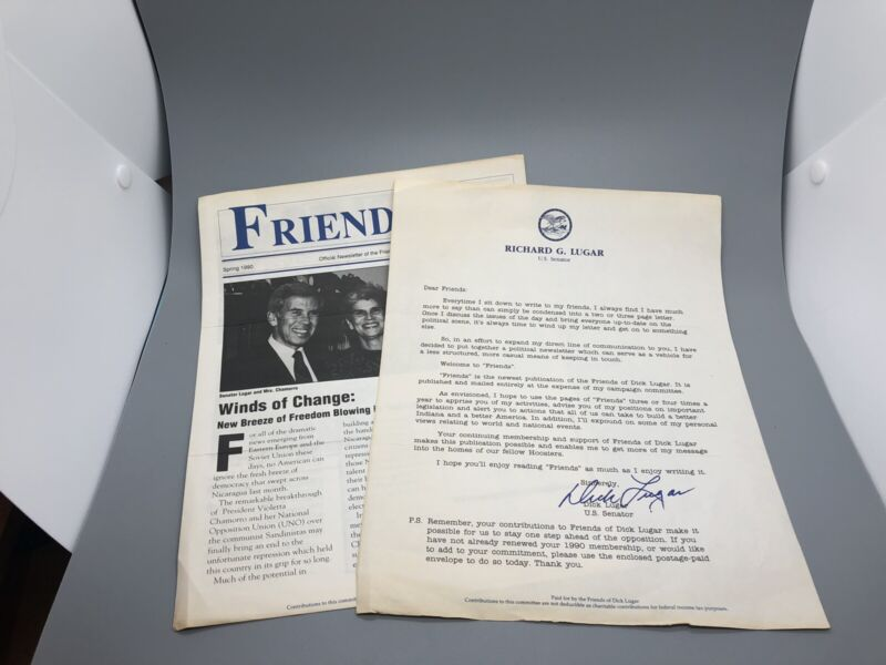 Richard Lugar Dick Lugar Political Flyers And Paperwork Historic Political Cool!