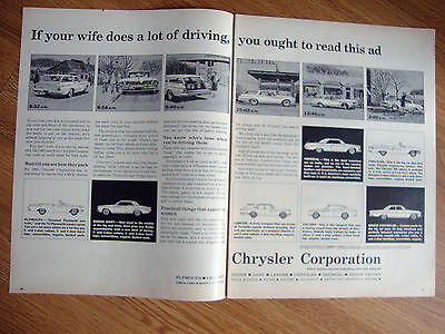 1962 Chrysler Plymouth Dodge  Ad If Wife does a lot of Driving Read Ad