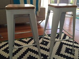 2 X metal Stools with wood seat Newport Pittwater Area Preview