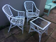 2 70s style cane chairs and matching side cane table Naremburn Willoughby Area Preview