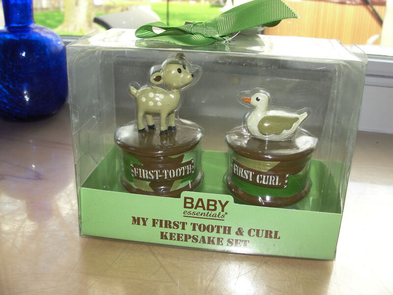 Baby Essentials My First Tooth & Curl Keepsake Set Camouflage Deer Duck