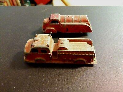 (2) Red Die Cast Trucks / Midgetoy Fire Truck & Tootsie Toy Tank Truck for sale  Buffalo