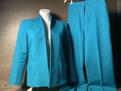 BENDING EASY VINTAGE MERVYN'S Two (2) Piece Easy Care Pant Suit GREEN SIZE 12