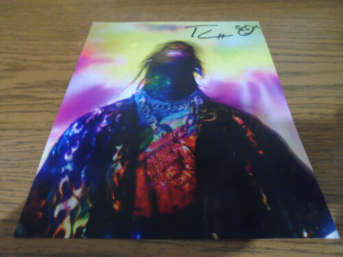 TRAVIS SCOTT SIGNED/AUTOGRAPHED 8X10 LITHOGRAPH PHOTO WITH DRAWN FACE ASTROWORLD