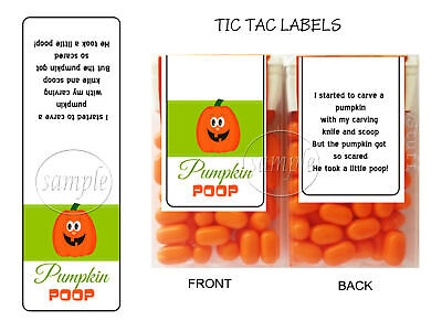 Halloween Party Favors PUMPKIN POOP Tic Tac Labels Stickers Treat Wrappers - Halloween Pumpkin Pooping