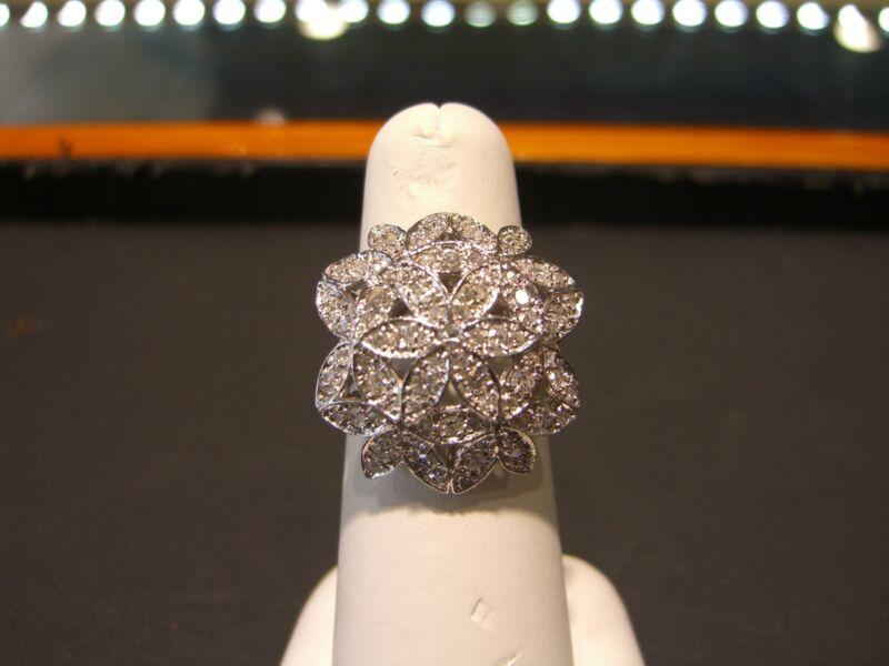 Fine Estate Diamond 14 Karat White Gold Womens Diamond Floral Ring Size 7 Wow!!!