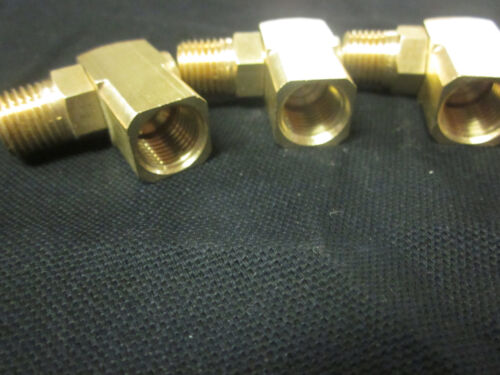 "~ 3 ~ BRASS AIR SWIVEL CONNECTORS 90 DEGREE ANGLE 360 SPIN 1/4"" NPT 3/8"" HOSE"