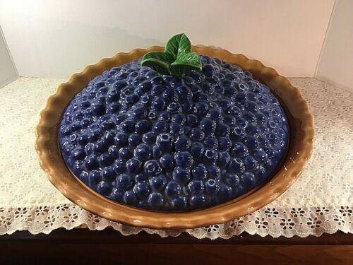 Vtg Treasure Craft Holiday Ceramic Blueberry Pie Plate Dish Keeper W/ Lid Rare