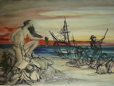 Kalypso Meernymphe Tochter des Titan Atlas Aquarell Griechische Mythologie
