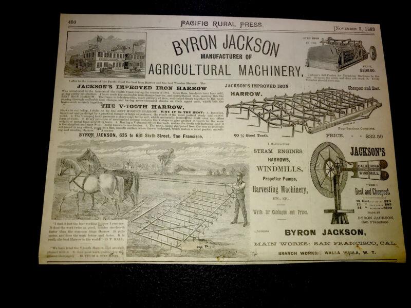 1883 Byron Jackson Farm Machinery Advertising - San Francisco - California 7x10