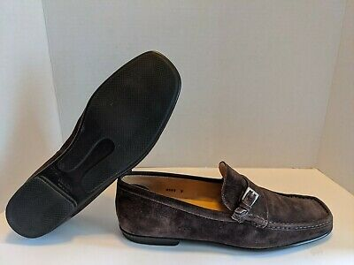 Vintage Prada Square Toe Buckle Loafers Brown Suede US Mens Size 9 Made In Italy