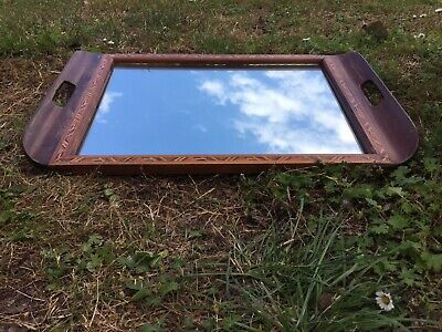 Gorgeous Vintage Brazilian Mirrored Wood Serving Tray with Handles. Interior 👀
