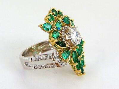 GIA certified 4.06ct. Emerald & Diamonds Cocktail Cluster ring 18kt 2