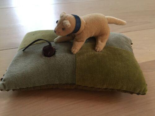 Deborah Hartwick Signed Collectible Velvet Pincushion Beige Dog, Mouse, Thimble