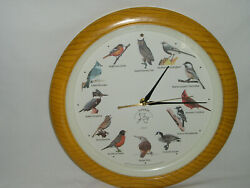 NATIONAL AUDUBON SOCIETY Quartz Singing Bird Clock Oak Wood 13 1/4'' Excellent