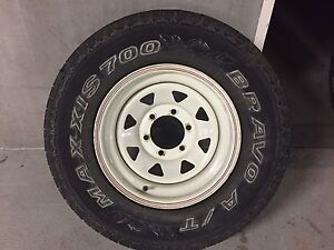 """4 x 15"""" white Sunraysia rims and Maxxis tyres Mount Nelson Hobart City Preview"""