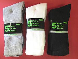 MENS-MULTIPACK-5-SPORTS-SOCKS-BLACK-4B182-WHITE-40B181-GREY-40B180-SIZE-6-11
