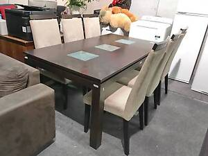 TODAY DELIVERY 7 pcs MODERN CHOCOLATE dining table and chairs Belmont Belmont Area Preview