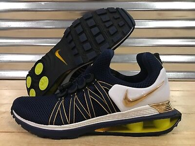 Nike Shox Gravity Running Shoes Midnight Navy Metallic Gold SZ ( AR1999-400 )