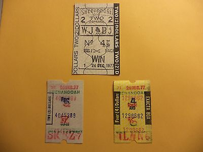 SHENANDOA RACE TRACK  VTG 1977 WAGER TICKETS EXACTA BOX WIN  HORSE RACING BET