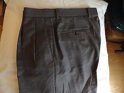 LAUREN by Ralph Lauren~Men's Brown Checked  Wool Pleated Pants (32 x 32) EUC++++