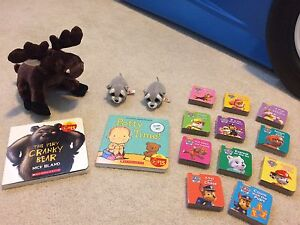 Assorted Stuffed Animals and Books - Like New
