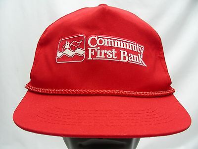 Community First Bank   Red   Adjustable Snapback Ball Cap Hat