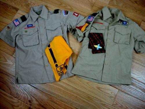 Lot of two Boy Scouts of America BSA Uniform Shirt Size Youth Medium Tan Khaki