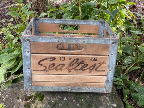 Vintage Antique Sealtest Wooden Milk Bottle Crate Box 1956 Dairy Farm Quart Wood