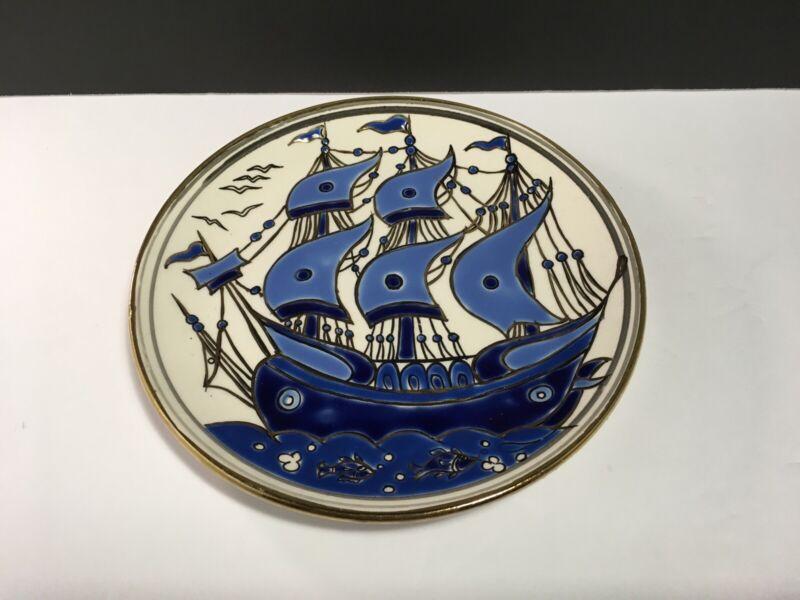 VTG GREECE BLUE SAILING SHIP PLATE Gold Accents EXCELLENT PIECE! Signed Keramik