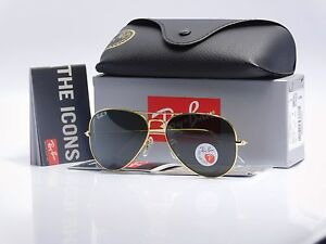 ray ban aviator sunglasses used  ray ban aviator gold large metal rb3025 001/ 58mm polarized green lenses