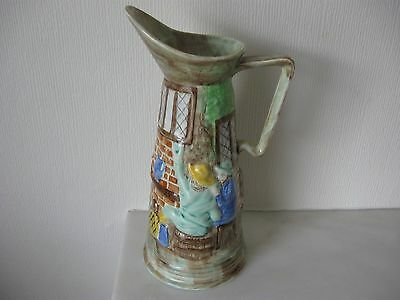 H.J. Wood of Burslem-Tall Pitcher Style Jug with raised Hand Painted Inn Scene