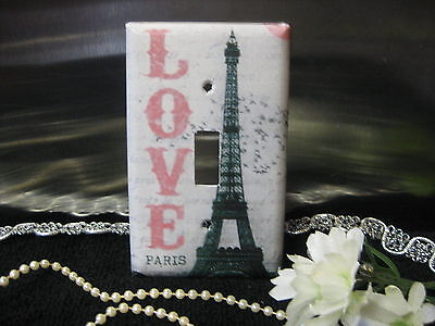 Paris w/Love Eiffel Tower Light Switch Wall Plate Cover #1 - Outlet Double - 1 Double Switchplate Cover