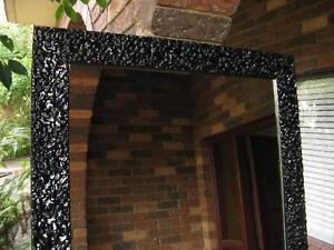 Stunning Lava Look Gloss Black Wood Full Length Mirror 205x76cm