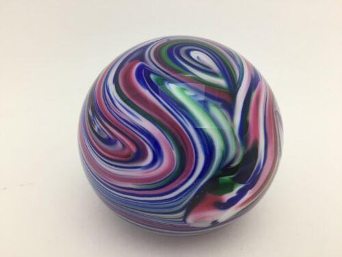 Gibson Art Glass Paperweight Swirl Signed 1995