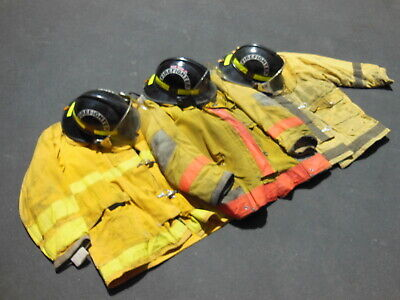 3 Fire Fighting Jackets 3 Fire Fighting Helmets - Outdoor Gear