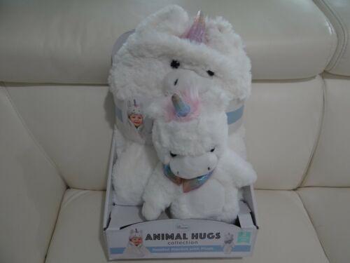 "Little Miracles Plush Unicorn Animal Hugs Hooded Baby Blanket 30""x36"" & Toy .New"