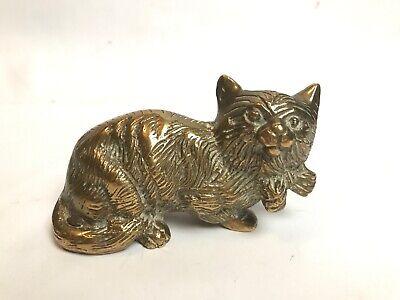 Brass Cat Figurine Cat Wearing Bow