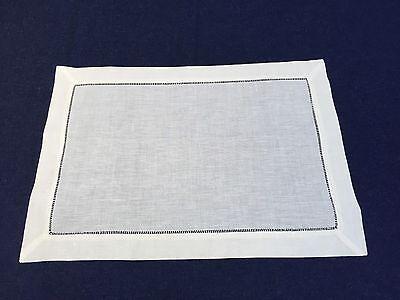 Set of 12 Ecru Linen Cloth Hemstitch Table Placemats 14x20 Inch Wedding