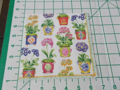 """Two Decorative Luncheon Napkins for Decoupage """"Primroses"""""""