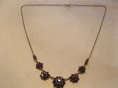 Granatcollier Collier Granat Halskette Granatkette DOUBLE Blüten verziert um1920