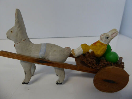 Vintage German? Paper Mache Composition Easter Rabbit Pulling Bunny in Cart